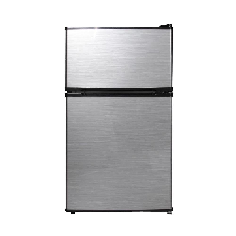 3.1 cu. ft. Double Door Mini Refrigerator/Freezer in Stainless Steel