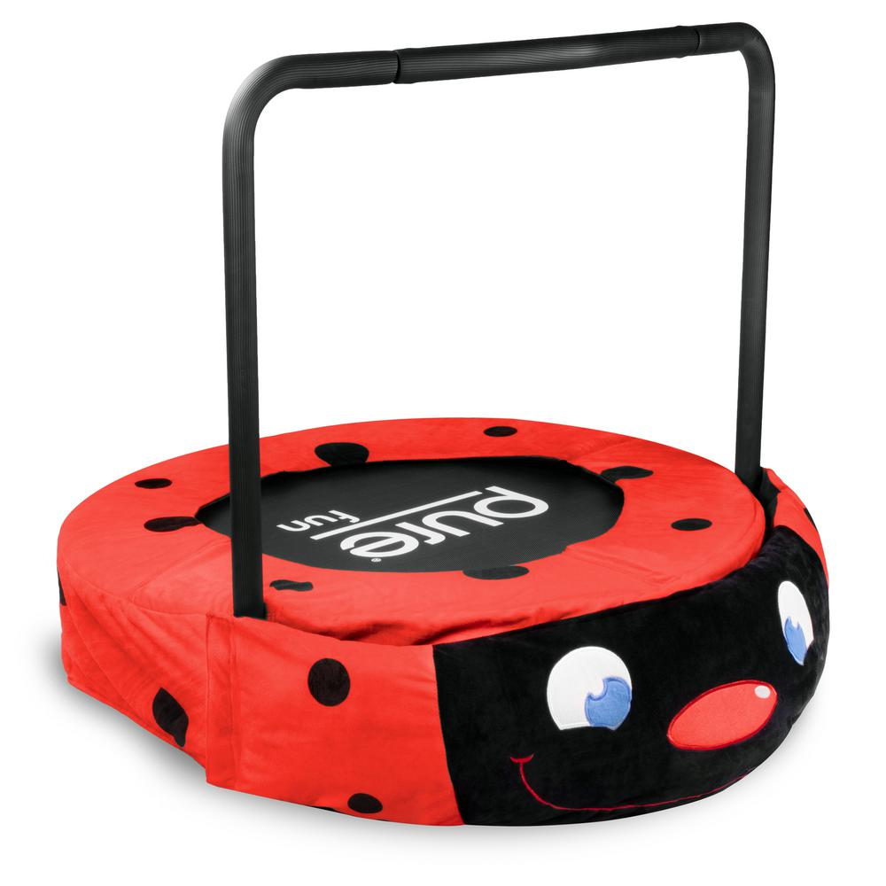 Pure Fun 36 in. Ladybug Jumper Kids Trampoline with Handrail