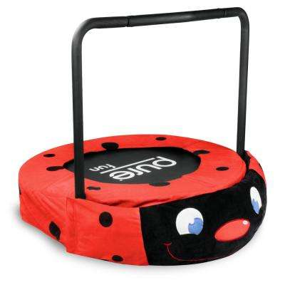36 in. Ladybug Jumper Kids Trampoline with Handrail