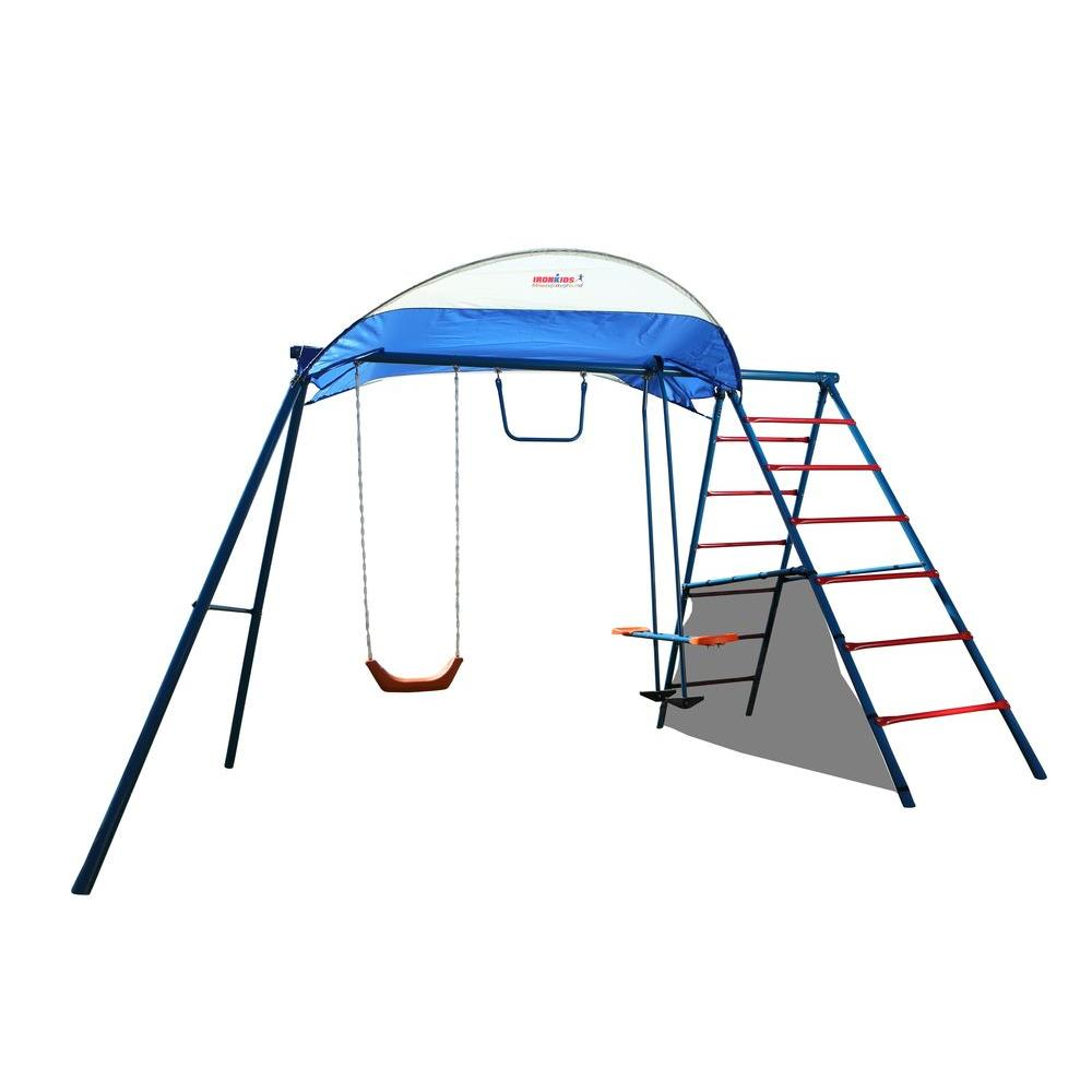 Iron Kids Challenge 100 Metal Swing Set, Blue