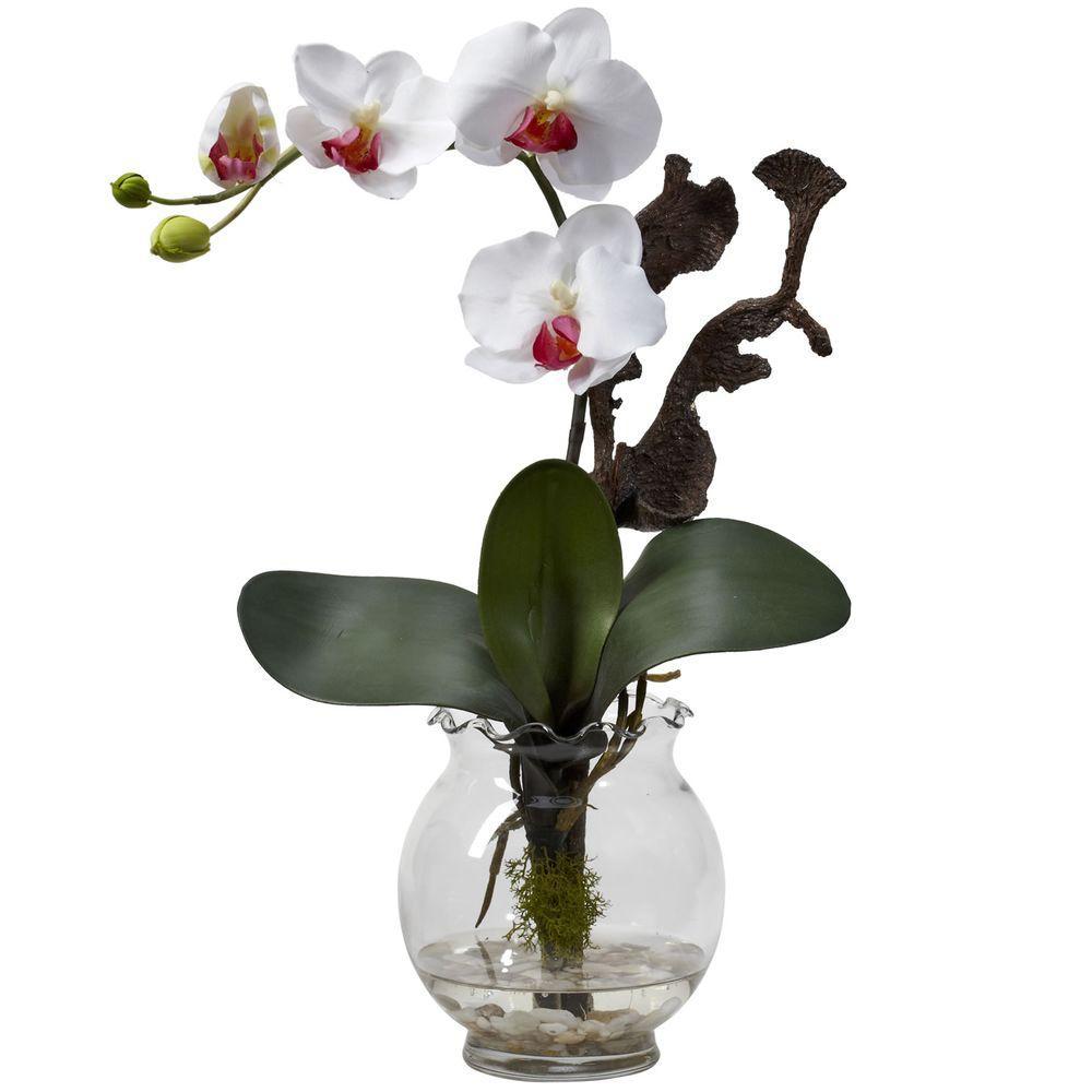 null 15 in. H White Mini Phalaenopsis with Fluted Vase Silk Flower Arrangement