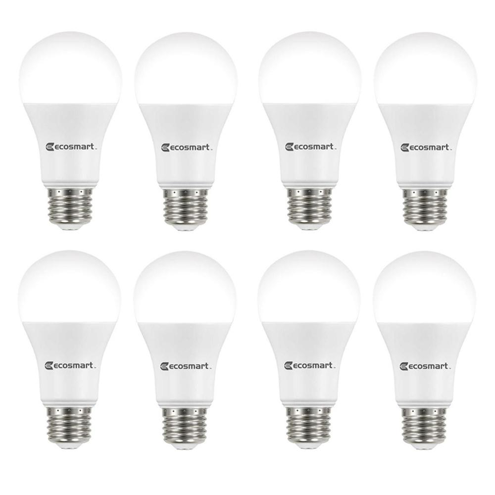 ecosmart 100 watt equivalent a19 dimmable energy star led light bulb bright white 8 pack. Black Bedroom Furniture Sets. Home Design Ideas
