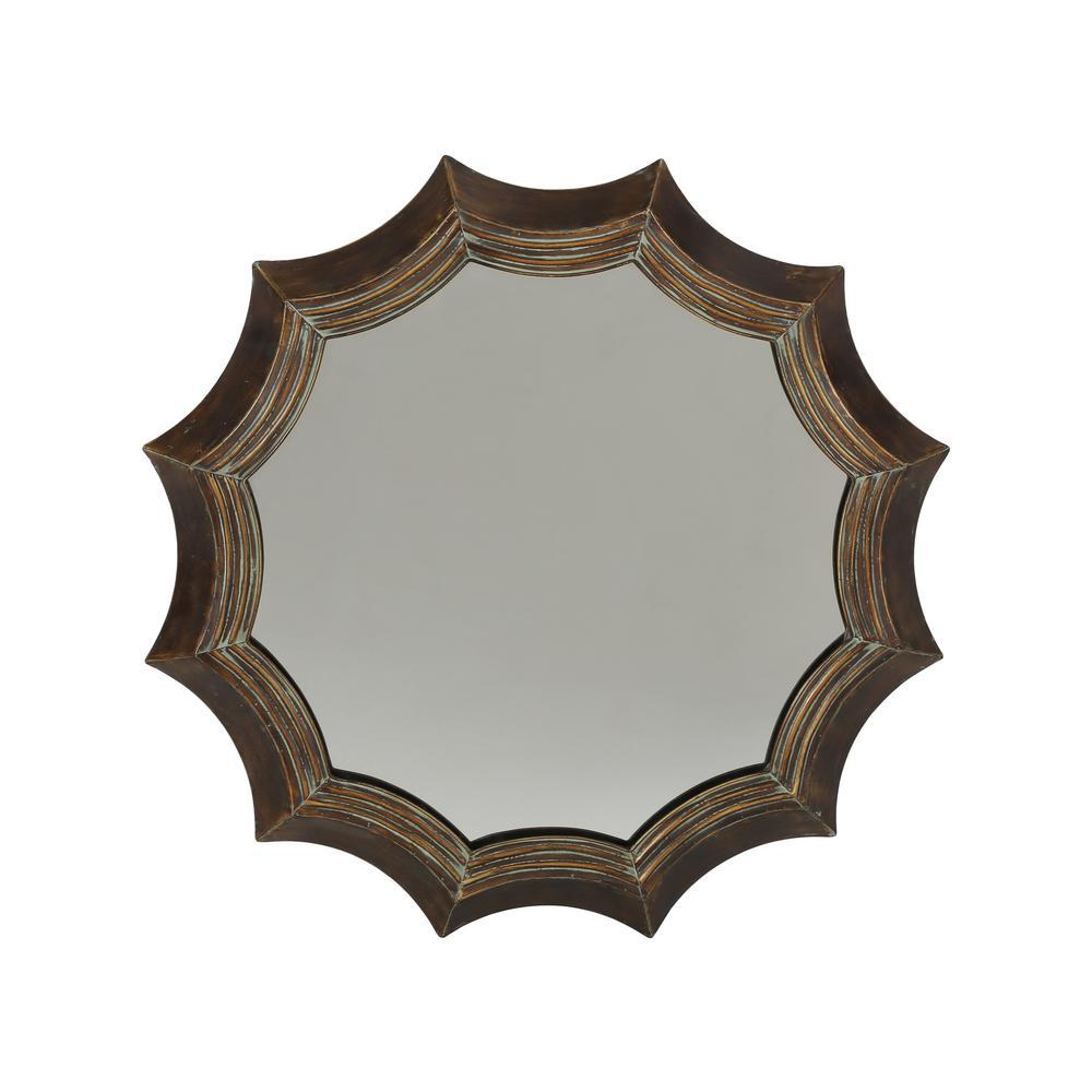 Ferraro 35 in. x 35 in. Industrial Round Framed Wall Mirror
