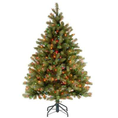 4.5 ft. Downswept Douglas Fir Artificial Christmas Tree with Multicolor Lights
