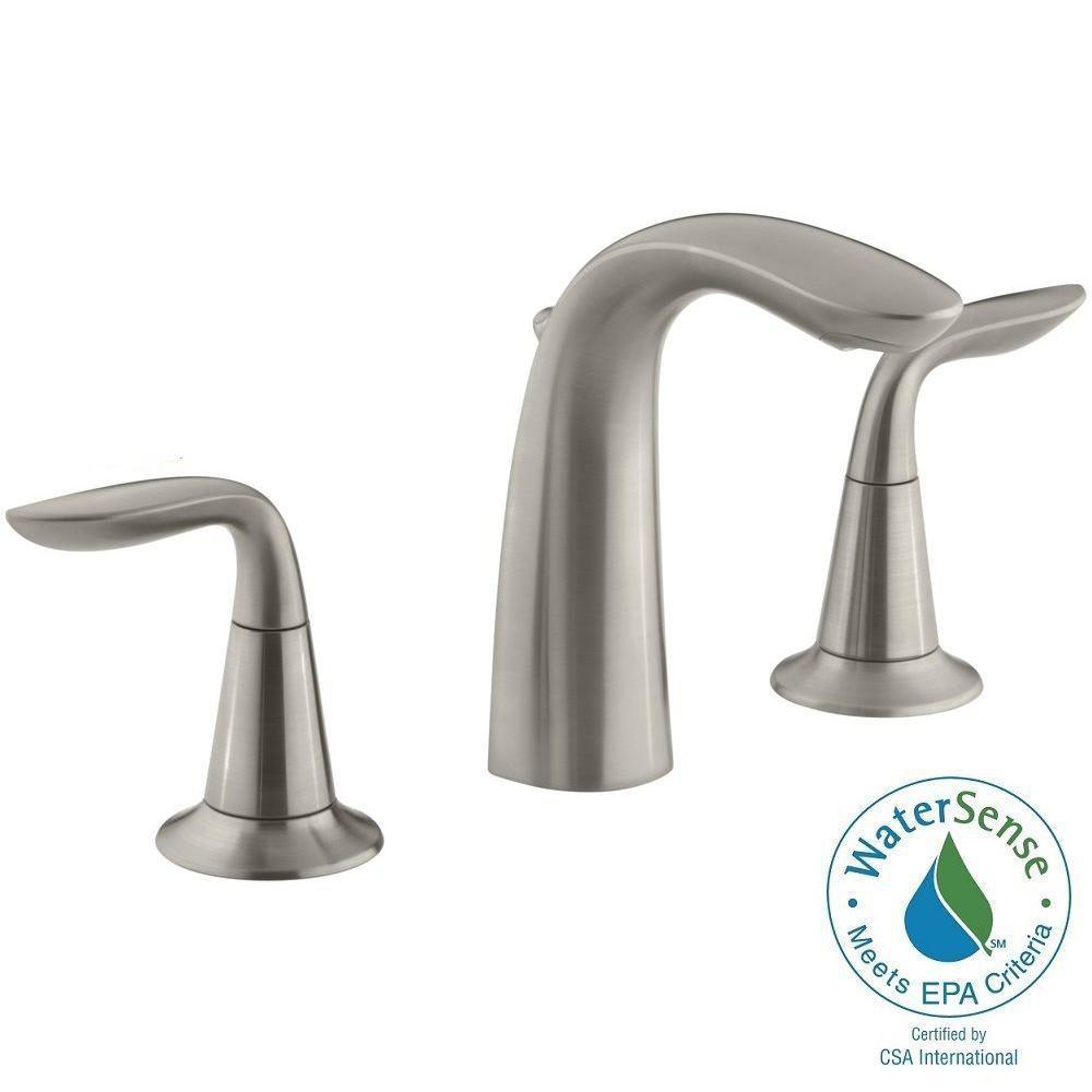 Refinia 8 in. Widespread 2-Handle Bathroom Sink Faucet in Brushed Nickel