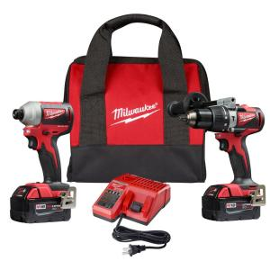 M18 18-Volt Lithium-Ion Brushless Cordless Compact Hammer Drill/Impact Combo Kit (2-Tool) with (2) 4.0Ah Batteries, Bag