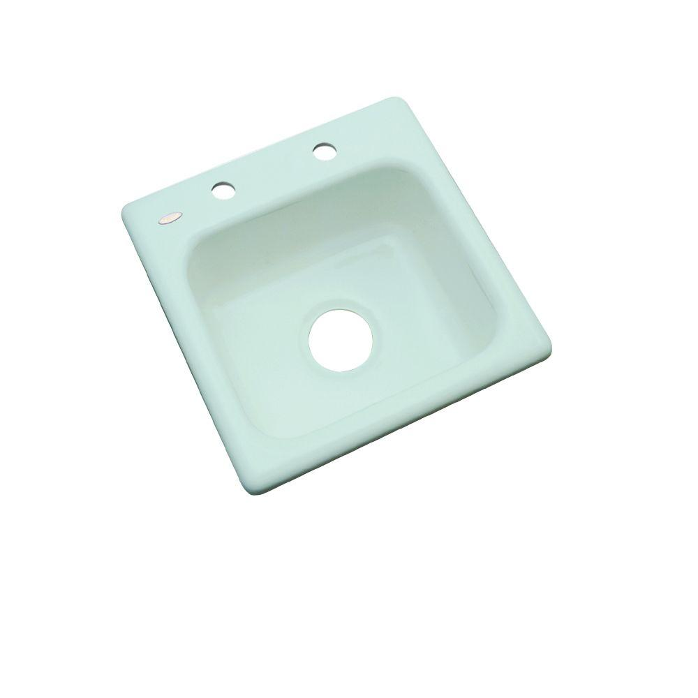 Thermocast Manchester Drop-In Acrylic 16 in. 2-Hole Single Bowl Entertainment Sink in Seafoam Green