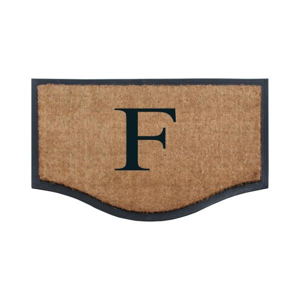 A1 Home Collections Club Border Black Beige 18 In X 30 In Rubber And Coir Heavy Duty Easy To Clean Monogrammed N Door Mat Rc401 N The Home Depot