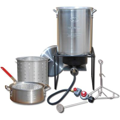 12 in. Welded Square Propane Gas Outdoor Turkey Fryer with 29 qt. with Rack, Hook, Basket and Thermometer