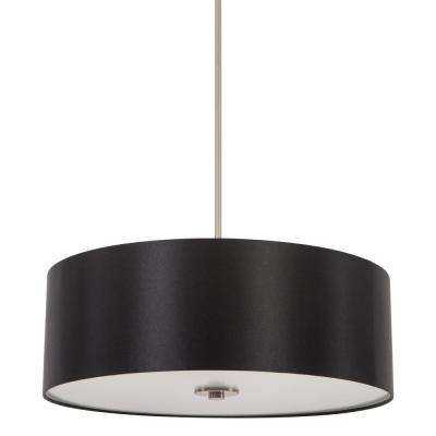 Lyell Forks Family 4-Light Satin Steel Pendant with Black Stealth Fabric Shade