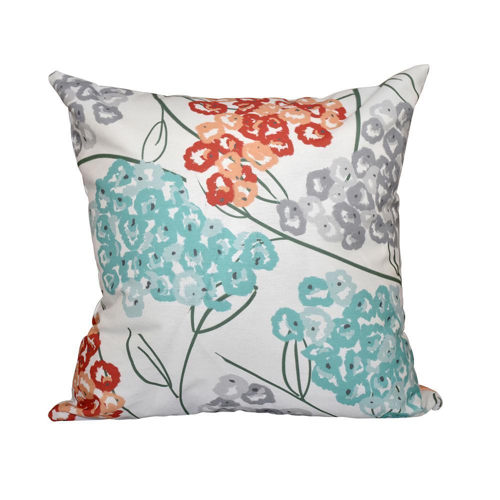 Coral Hydrangeas Floral Print Throw Pillow