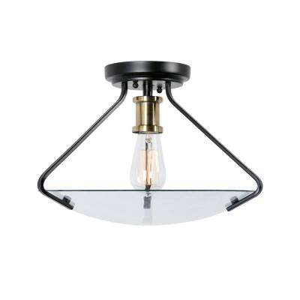 Finlay 1-Light Black Semi Flushmount Light