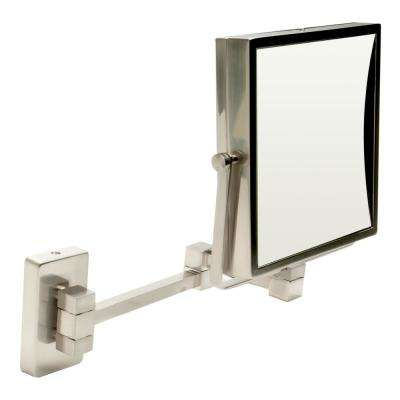 8 in. x 8 in. Square Framed Wall Mounted 5X and 0X Mirror in Brushed Nickel