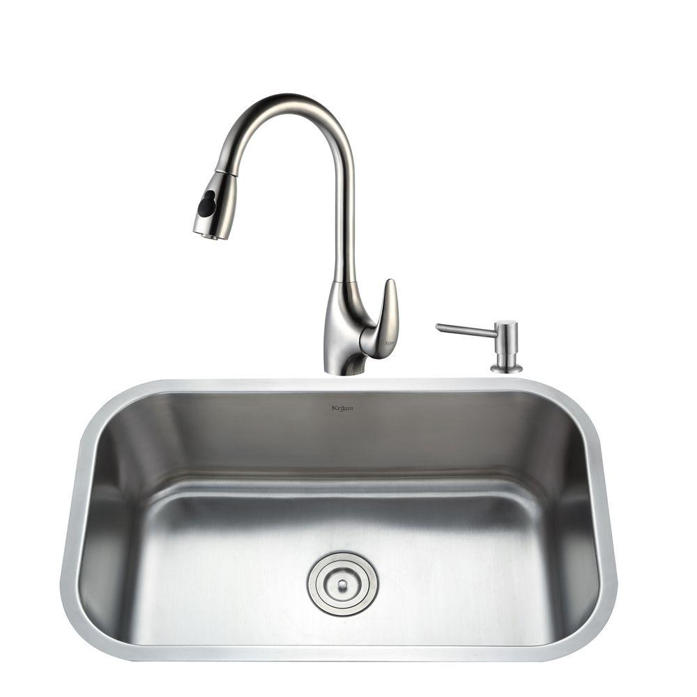 KRAUS All-in-One Undermount Stainless Steel 32 in. Single Bowl Kitchen Sink with Faucet and Accessories in Stainless Steel