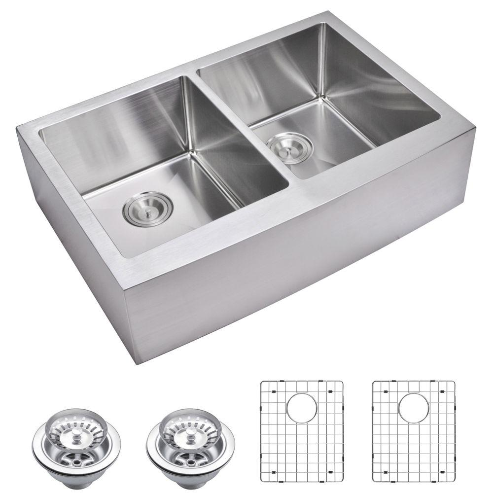 Farmhouse Apron Front Small Radius Stainless Steel 33 in. Double Bowl