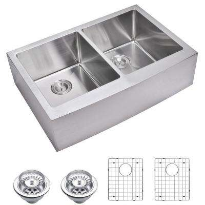 Farmhouse Apron Front Small Radius Stainless Steel 33 in. Double Bowl Kitchen Sink with Strainer and Grid in Satin