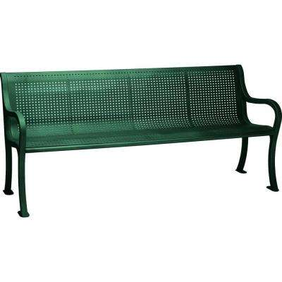 Oasis 6 ft. Perforated Bench with Back in Hunter