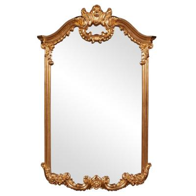 Medium Rectangle Bright Gold Leaf Classic Mirror (32 in. H x 51 in. W)