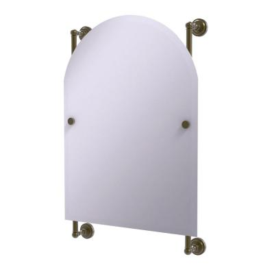 Dottingham Collection Arched Top Frameless Rail Mounted Mirror in Antique Brass