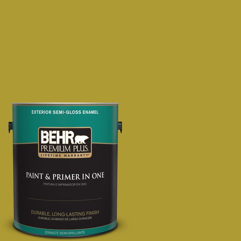 BEHR Premium Plus 1-gal. #P330-7 Luscious Lime Semi-Gloss Enamel Exterior Paint