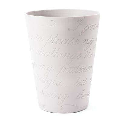 Lamia Large 11 in. Casper White Planter Pot with Engraved Garden Poem Design