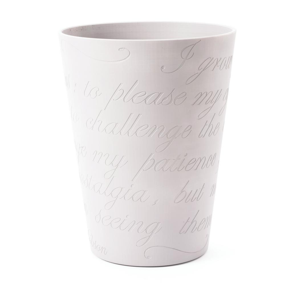 Lamia Large 11 in. Casper White Planter Pot with Engraved Garden Poem Design