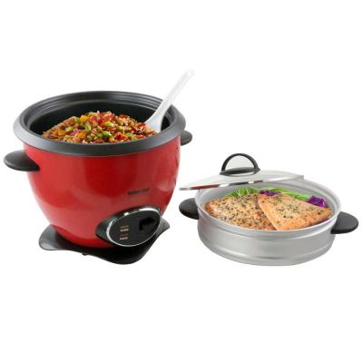 10-Cup Red Nonstick Rice Cooker with Steamer Basket