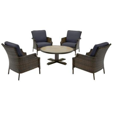 Grayson Brown 5-Piece Wicker Outdoor Patio Conversation Seating Set with CushionGuard Midnight Navy Blue Cushions