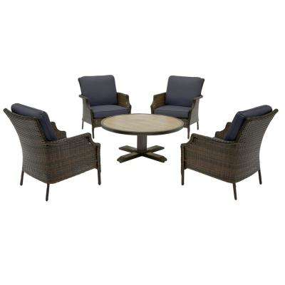 Grayson 5-Piece Brown Wicker Outdoor Patio Conversation Seating Set with CushionGuard Midnight Navy Blue Cushions