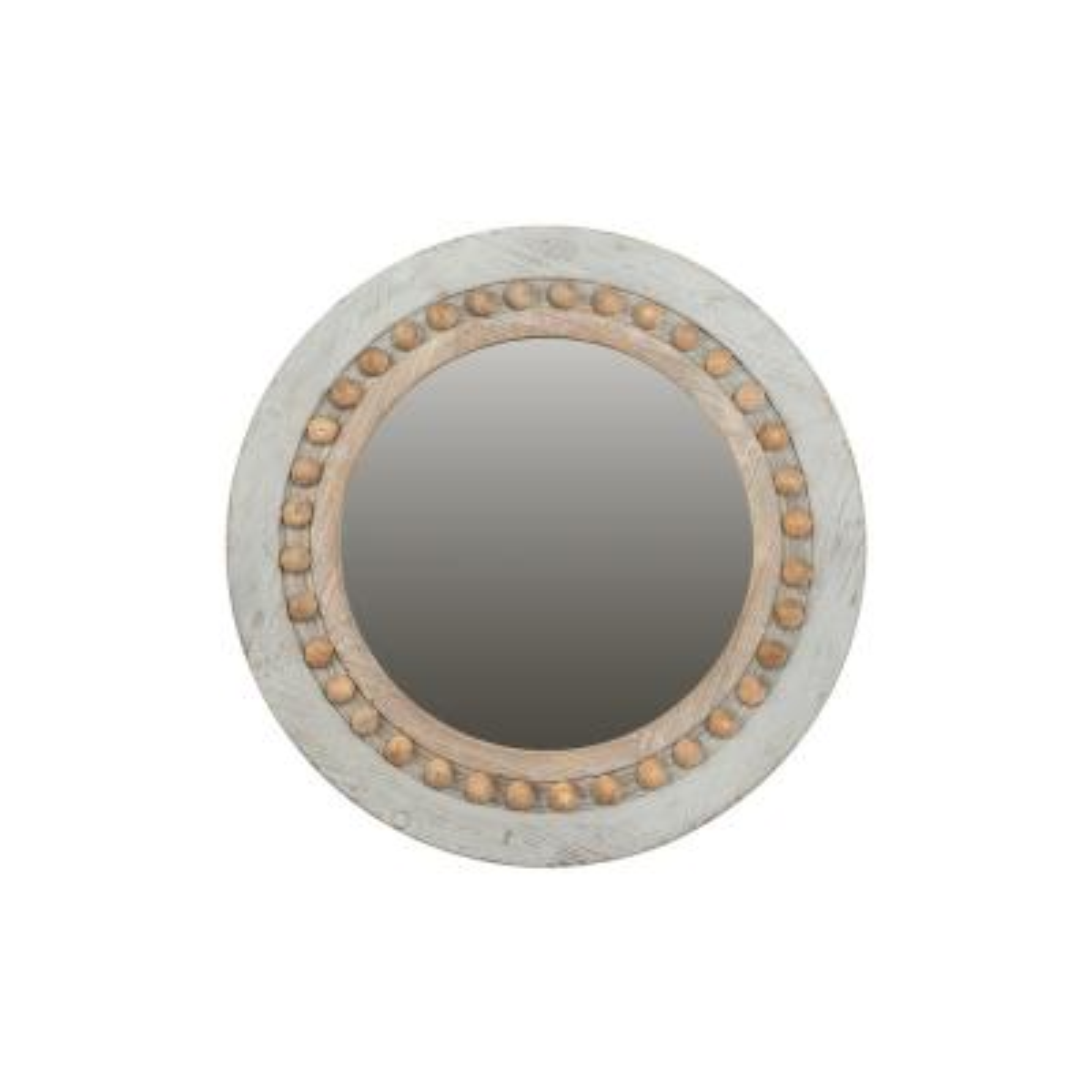 Medium Round Grey Classic Mirror (24.75 in. H x 24.75 in. W)