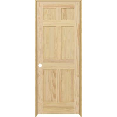 30 in. X 80 in. 6-Panel Right-Hand Unfinished Pine Single Prehung Interior Door with Nickel Hinges