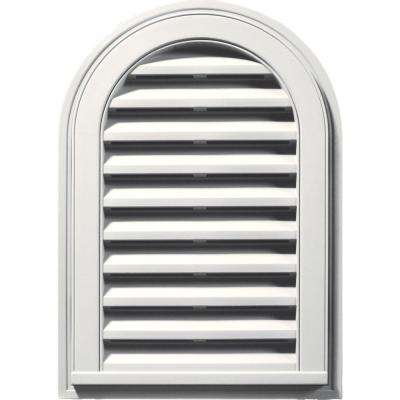 14 in. x 22 in. Round Top Gable Vent in White