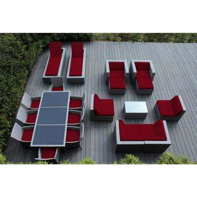 Gray 20-Piece Wicker Patio Combo Conversation Set with Spuncrylic Red Cushions