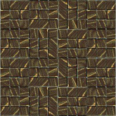Metalz Bronze-1012 Mosaic Recycled Glass 12 in. x 12 in. Mesh Mounted Tile (5 sq. ft. / case)