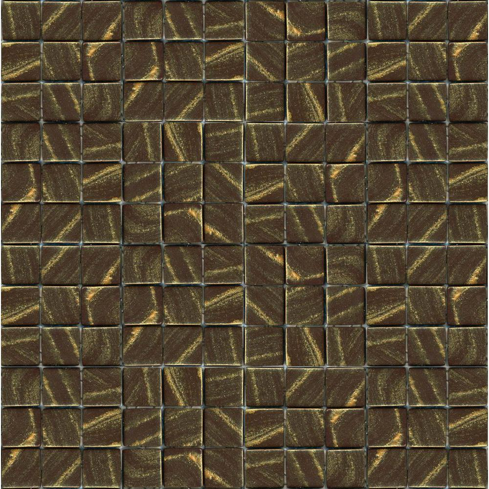 Epoch architectural surfaces metalz bronze 1012 mosiac for Installing glass tile with mesh back