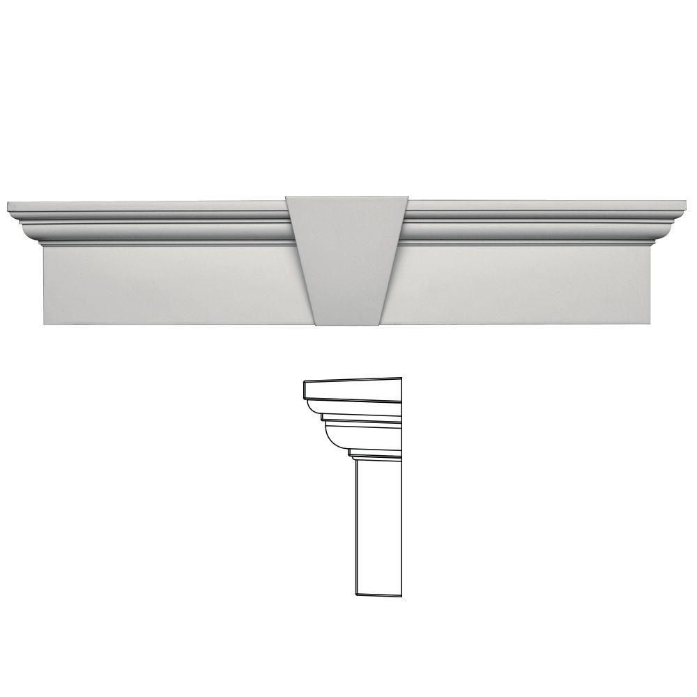 Builders Edge 9 in. x 43-5/8 in. Flat Panel Window Header with Keystone in 030 Paintable