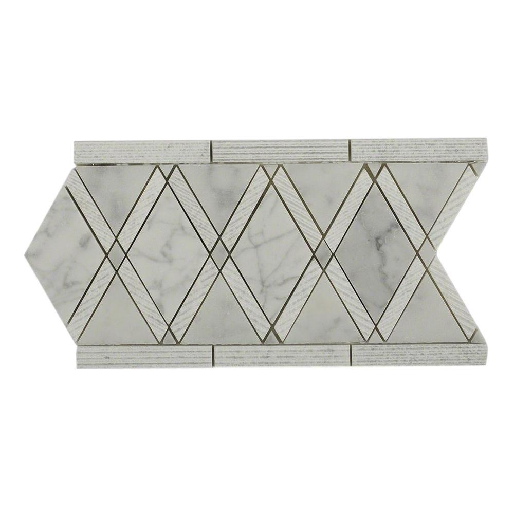 Grand Textured White Carrera Border 6 In X 12 10 Mm Polished Marble Floor And Wall Tile