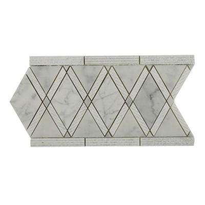 decorative accents for living room beach grand textured white carrera border in 12 10 mm polished living room floor 6x12 decorative accents tile the home depot