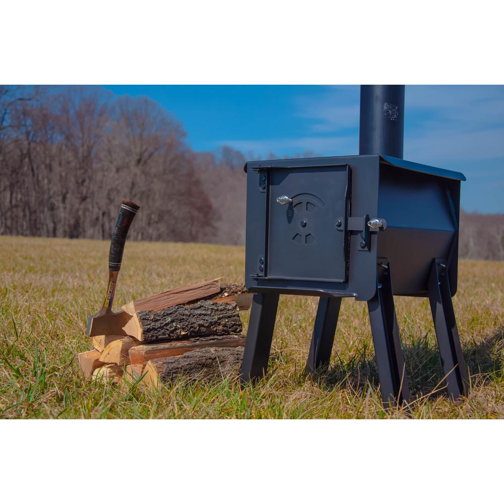 Portable Firebox Camp Stove 2.7 cu W Charcoal Fuel Steel Black ft 17 in