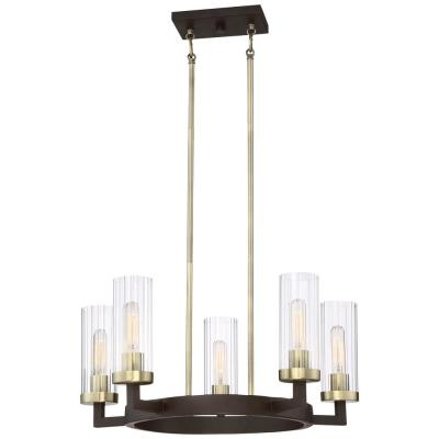Ainsley Court 5-Light Aged Kinston Bronze with Brushed Brass Highlights Chandelier