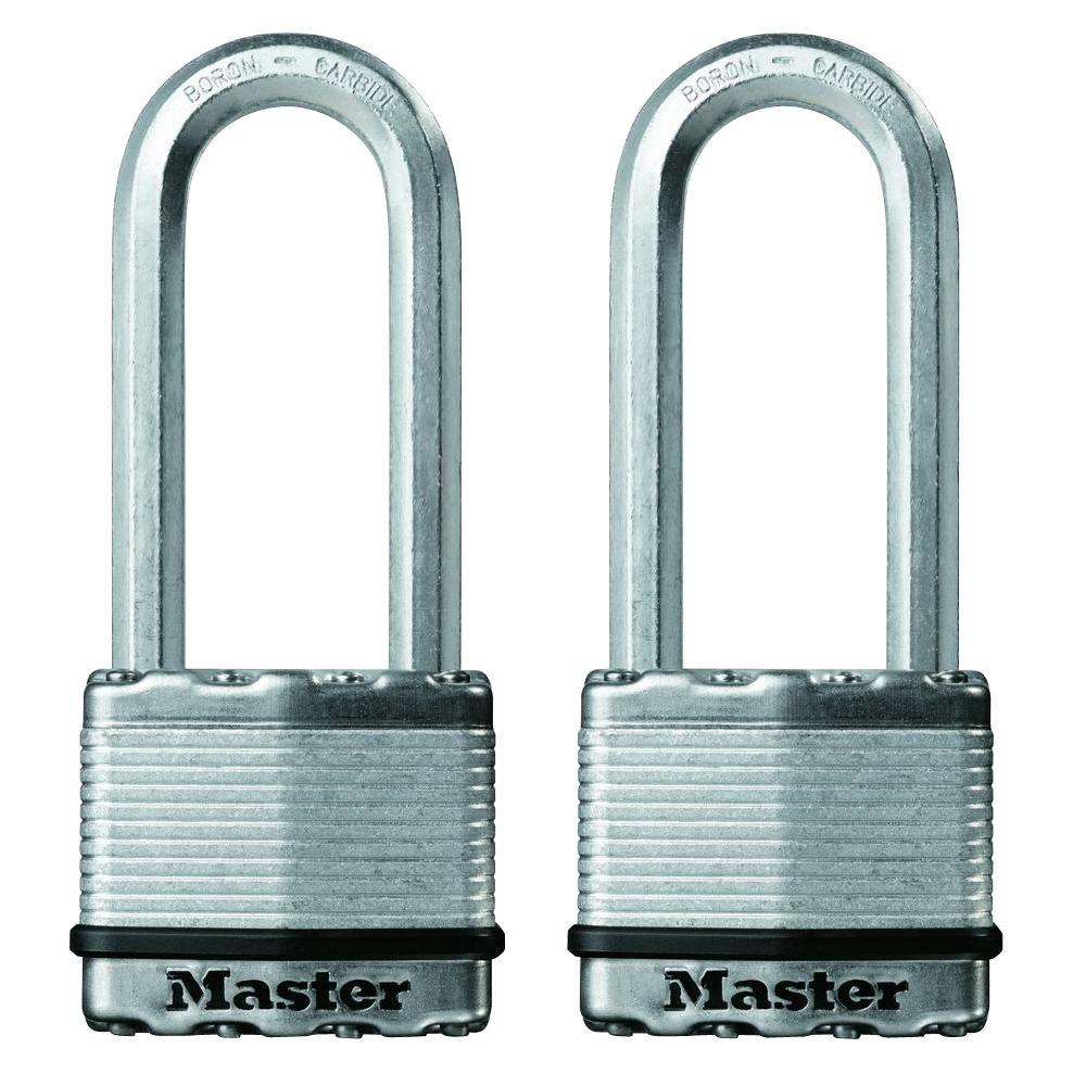 Master Lock Magnum 2 in. Laminated Steel Padlock with 2-1/2 in. Shackle (2-Pack)
