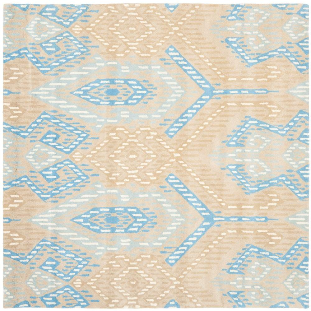 Wyndham Beige/Blue 7 ft. x 7 ft. Square Area Rug