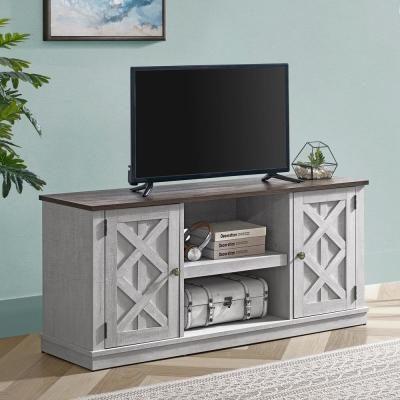 54 in. Saw Cut Off White TV Stand (Fits TVs up To 60 in.)
