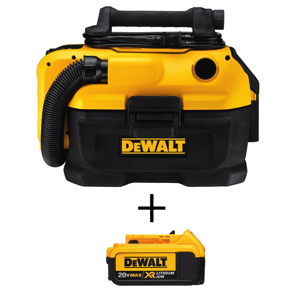 DEWALT 2 Gal. MAX Cordless/Corded Wet/Dry Vacuum with Bonus 20-Volt MAX XR Lithium-Ion Premium Battery Pack 4.0 Ah