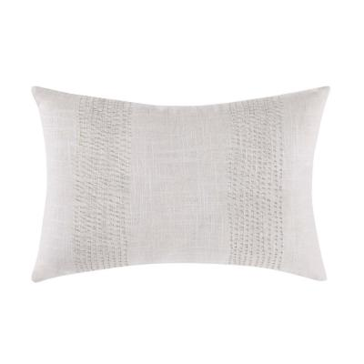 Cove Neutral Geometric Hypoallergenic Down Alternative 16 in. x 18 in. Throw Pillow