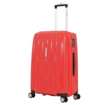 24 in. Upright Hardside Spinner Suitcase in Red