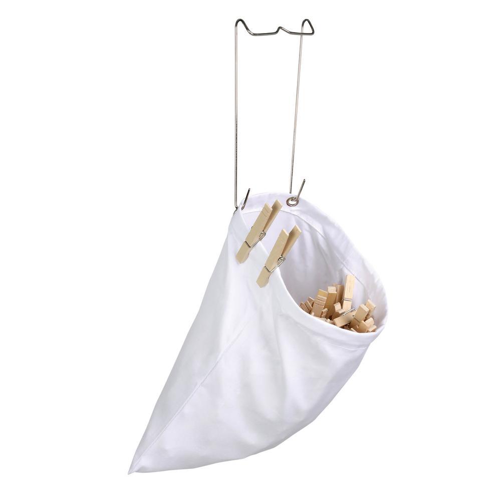 White Hanging Cotton Clothespin Bag
