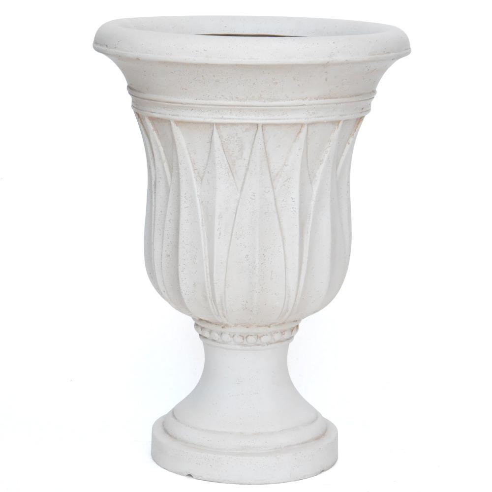 21 in. H. Aged White Cast Stone Sharp Leaf Urn