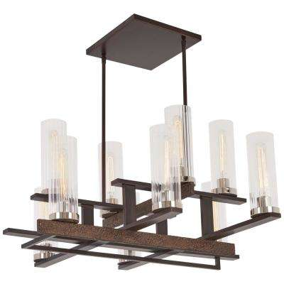 Maddox Roe 10-Light Iron Ore Gold Dust Highlights Chandelier with Clear Stripe Glass Shade