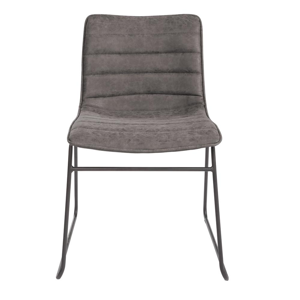OSP Home Furnishings Halo Stacking Charcoal Faux Leather Chair with Black Base (2-Pack) Attractive Multi-purpose stacking chair in a trending, modern design. Perfect as dining chairs, task seating for sewing or hobbies or as fun accent seating. Great modern style and value for any home. Color: Charcoal Faux Leather.